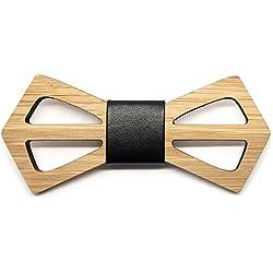BOBIJOO Jewelry - La Pajarita Tendencia De Madera De Bambú Hombre Geometría Contemporánea Hecha A Mano De Cuero