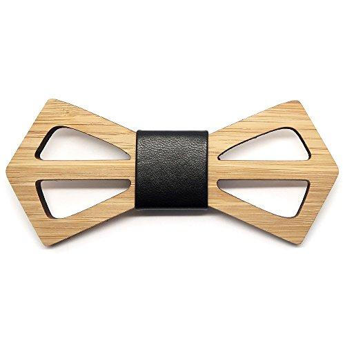 BOBIJOO Jewelry - Noeud Papillon Tendance Bois Bambou Homme Géométrie Contemporain Fait Main Cuir