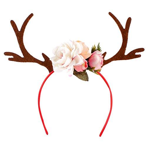 Gazechimp Erwachsene Kinder Weihnachten Blumen Geweihe Kostüm Haarreif Haarband - Weiß