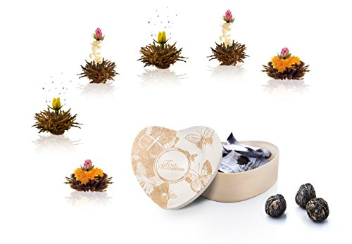 ErblühTee Teeblumen in Holzschachtel Herzform 6Stk in 3 Sorten Schwarzer Tee von Creano