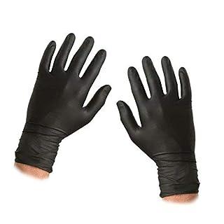 ASC SCHWARZ Nitrile Einweghandschuhe - Größe XL - texturiert - pulverfrei und latexfrei - 100 Handschuhe (50 Paare)