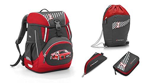 Preisvergleich Produktbild Original Audi Kinder Rucksack Schulrucksack Set Turnbeutel Federmappe Mäppchen
