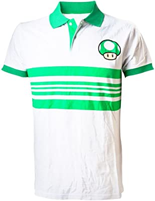 Camisa NINTENDO Super Mario Bros Green Mushroom Polo (mediano, blanco / verde)
