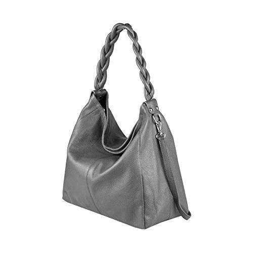 OBC Made in Italy XXL echt Leder DIN-A4 Shopper 2 in 1 Henkeltasche + Schmucktasche Tasche Beuteltasche Schultertasche 50x34x16 cm Grau