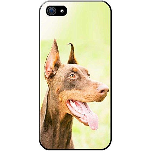 Nahaufnahme eines braunen Dobermanns Hartschalenhülle Telefonhülle zum Aufstecken für Apple iPhone 5S / 5 (Mouth Apple Happy)