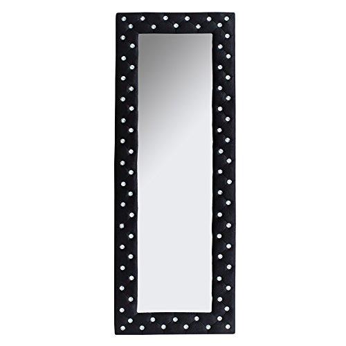 Pompöser Spiegel BOUTIQUE 170x60 schwarz Samtstoff mit Strassknöpfen