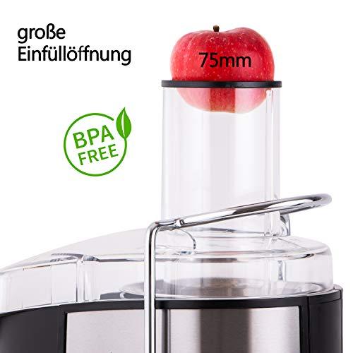 Edelstahl Entsafter für Obst und Gemüse – 800 Watt Bild 2*