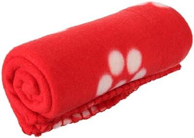 SODIAL(R) 60 * 70cm caliente suave lindo acogedor caliente impresiones de la pata del animal domestico del perro del gato Fleece Mat Manta de cama (blancas huellas impresas Rojo de fondo)