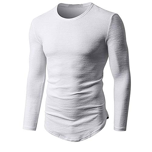 SANFASHION Herren Pullover Muskel T-Shirt Slim Casual Sweatshirts Langarm Boden Solid Cotton Bluse Top
