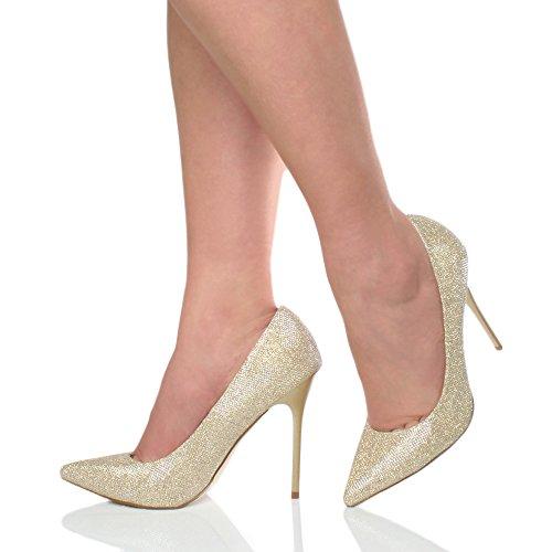 Donna tacco alto lavoro festa elegante scarpe de moda décolleté a punta taglia Oro Luccichio Glitter