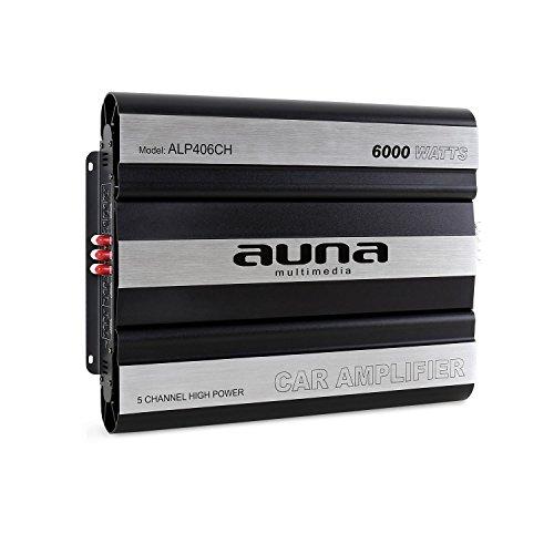auna ALP406CH • Car HiFi Verstärker • 5-Kanal Auto-Endstufe • Car Amplifier • MOSFET • brückbar • 5/4/3/2-Kanal Betrieb • 6000 W Peak-Leistung • Hoch- / Tiefpassfilter • zuschaltbarer Super Bass • separate Crossover mit jedem Kanal • Aluminium • schwarz-silber (Die Peak-6000)