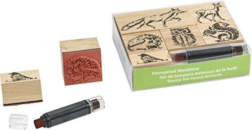 Baier & Schneider Motivstempel Stempel Set Waldtiere, Holz, Waldtiere/-, 6 Holzstempel, 1 Stempels