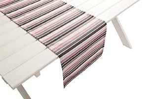 """Outdoor TISCHLÄUFER""""Antibes grau-rosa"""" Gartentisch Läufer Tischdecke Tisch-Deko wasserabweisend 42cmx145cm"""
