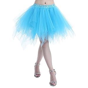 Karneval Damen 80er Puffy Tüllrock Tütü Röcke Tüll Petticoat(MEHRWEG)