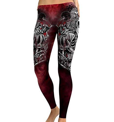 Huateng Weibliche große Schädeldruck Enge Leggings Halloween Hosen Yogahosen