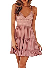 LILICAT Frauen Blusenkleid Knielang Kleid Herbst Damen Elegant Sommerkleid  3 4-Arm Rundhals Streifen 3032f0c330