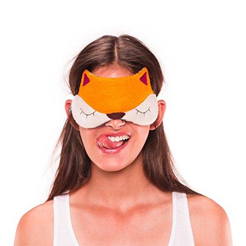 Preisvergleich Produktbild Møbla® Schlafmaske von ööloom, tierfreundliche Schlafbrille, Augenmaske, für Damen, Herren und Kinder, komplette Dunkelheit, Lichtdicht, lustige Motive, variable Größe | Fuchs