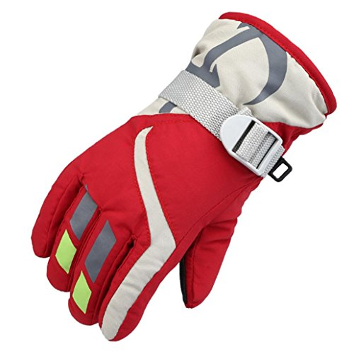 Guantes de Esquí Para Niños, Gusspower Kids Skiing Snow Snowboard y Guantes de Esquí - Impermeables y a Prueba de Viento - Outdoor Winter Sports Thermal Warmth, Rojo