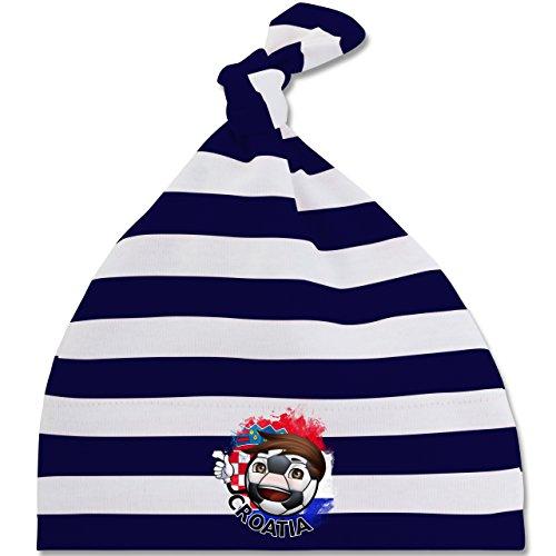 Navy Fußball-maskottchen (Fußball-WM 2018 Russland - Babys - Fußballjunge Kroatien - Unisize - Navy Blau/Naturweiß - BZ15S - gestreifte Baby Mütze mit Knoten / Bommel für Jungen und Mädchen)