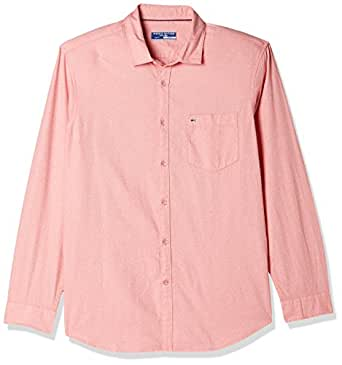 Indigo Nation Men's Printed Slim Fit Cotton Casual Shirt (ISF652_Red Printed_39)