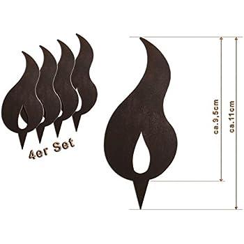 10er set flamme edelrost rostige flamme zum einschlagen in holzstamm 10 cm rostdeko. Black Bedroom Furniture Sets. Home Design Ideas
