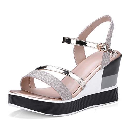 n-Plattform-Sandelholz-Art- und Weiseschnalle Peep Toe-Bequeme Keil-Sommer-Schuhe ()