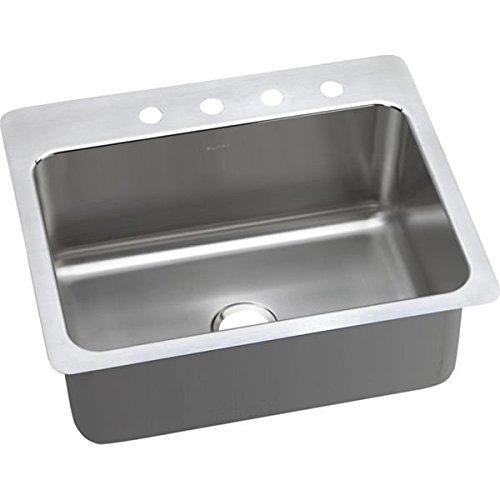 Elkay DLSR2722104 18 Gauge Stainless Steel 27 x 22 x 10 Single Bowl Dual/Universal Mount Kitchen Sink with 4 hole by Elkay