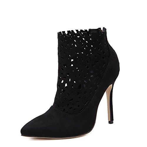 L@YC Frauen High Heel Pointy Schuhe Stiletto Fr¨¹hling und Herbst Geschnitzte Hollow Nude Stiefel / Schwarz / Beige Black