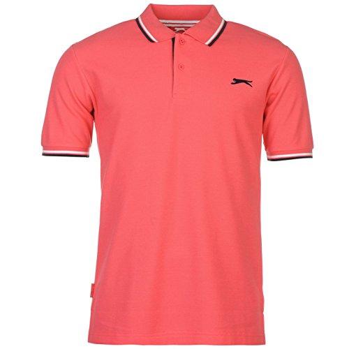 Slazenger Herren Tipped Polo Shirt Kurzarm Polohemd Streifen Details Leuchtend Pink M