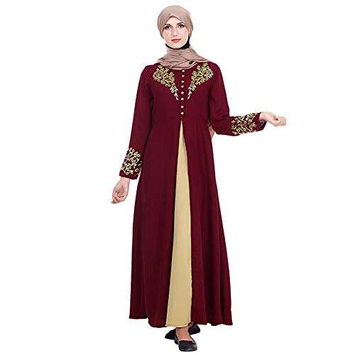 cb9f73834ae2 Hzjundasi Abito Lungo Arabo Musulmano a Manica Lunga Dubai Kaftan per Donna  Abaya Vestito con Stampa