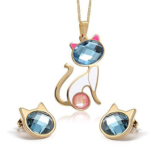 AnaZoz Joyería de Moda Juegos Gato Colgante Collar Pendientes 18K Oro Para Mujer Boda de Moda Cristal
