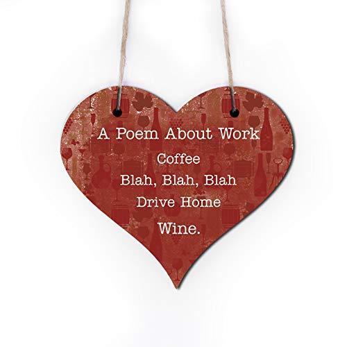 | WTF | Ein Gedicht über Arbeit | Holz Herz Wandschild Plaque|