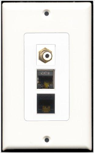 RiteAV–1Port RCA weiß 1port geschirmt, Cat. 6Ethernet und 1Port Cat6Ethernet Black Decora Wall Plate Decora