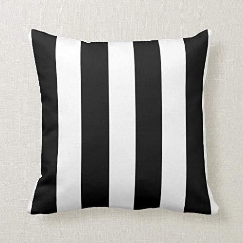 Qidushop - Funda de cojín con diseño Moderno de Rayas Blancas y Negras, 45 x 45 cm, para sofá y sofá...