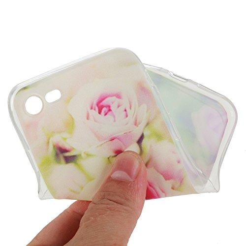 iPhone 7 Custodia Cover Silicone,Slynmax Sottile TPU Case Morbido Flessibile Gel Transparent Silicone Bumper Protettivo Skin per iPhone 7 Slim Cover Trasparente Caso Chiaro Cristallo Colorato Modello  Fiori rosa