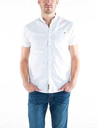 Timezone Moorebd Shortsleeve, Chemises Décontractées Homme Weiß (Pure White 0100)