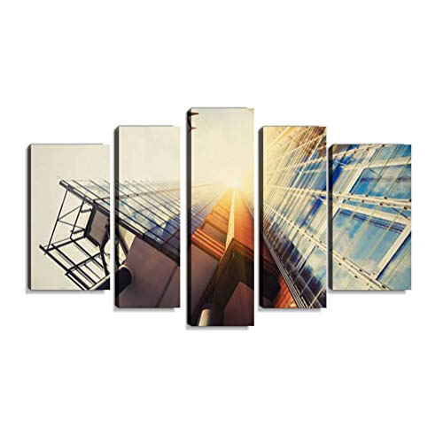 Inbel Kunst Wolkenkratzer mit Einer Flugzeug-Silhouette Wandbilder abstrakt Leinwandbild Digitalkunstdruck leinwanddrucke Eigenes Design Gemlde Wanddekoration mit Holzrahmen 5-teilig