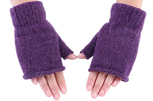 Amorismo Damen Strick Handschuhe Winter Fingerlos Warme Fäustlinge -