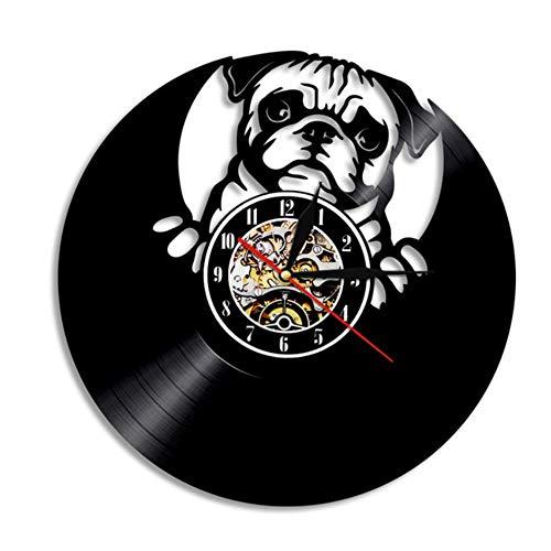 JJYM Horloge Murale Bouledogue Horloge Murale Races de Chiens Britanniques Disque Vinyle Horloge Murale Amour Mon Bouledogue Chiot Carlin animalerie décoration Murale Horloge Cadeau