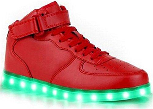 (Présents:petite serviette)JUNGLEST® Unisexe Homme Femme USB Charge LED Lumière Lumineux Clignotants Chaussures de marche Chaussures de Sports Baskets LED Hig Rouge