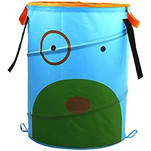 AISI plegable grande cilíndrico cute cartoon Oxford paño de almacenamiento bin cesta de almacenamiento organizador para habitación de un niño juguete de almacenamiento, cesto para la colada, azul celeste, talla única