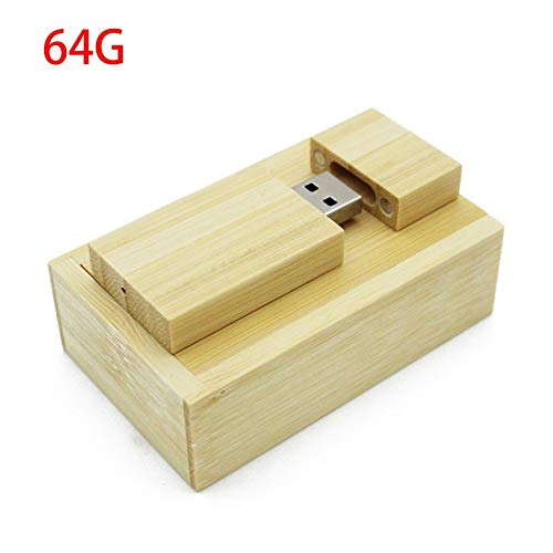 Universal Bamboo USB Flash Drive Photo Album Box Portable Computer External Storage Device USB2.0 Memory Stick(beige 64G) -