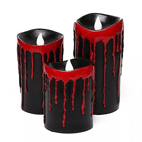 Blutende Halloween Kerzen,Halloween Deko, Halten Hell, 5 Stunden Auto Timer, batteriebetrieben, 3x4/5/6 Zoll, Halloween Blut,Packung mit 3 (Schwarz)