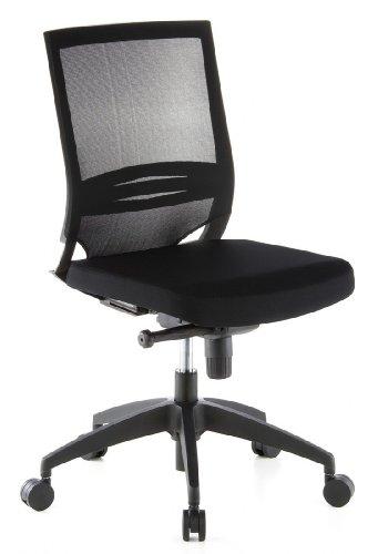 hjh OFFICE 657210 Profi Bürostuhl PORTO ECO Stoff/Netz Schwarz Drehstuhl ergonomisch mit Lendenwirbelstütze, ohne Armlehnen