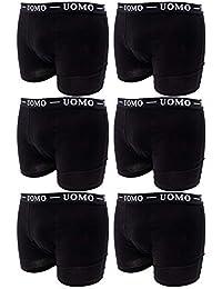 Confezione da 6 Pezzi Boxer Uomo Slip Mutande Intimo Cotone Elastico Colori Assortiti Bianco Nero Blu Grigio Taglia M -5XL