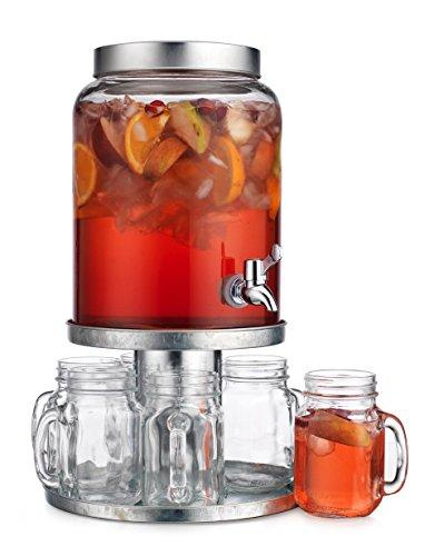 Elegant Home 8PC Set Getränk Drink Spender Robustes Glas mit Schraube Deckel 2,3l mit Spigot inkl. verzinktem Metall Display riversble Metall Ständer/Cake Ständer und (6) Stück Tassen