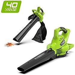 Greenworks Souffleur/Aspirateur à feuilles sans fil sur batterie 40V Lithium-ion (sans batterie ni chargeur) - 24227