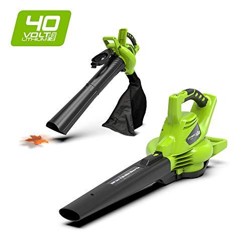 Greenworks Soplador / Aspirador / Triturador de hojas inalámbrico de 40V sin batería ni cargador...