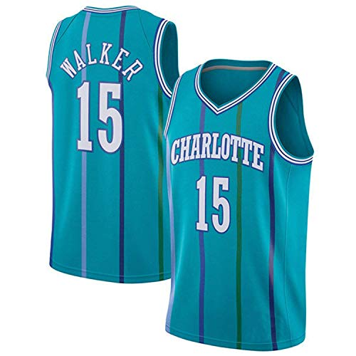 Basketball Suit2019 Herren Trikots Hornets No. 15 Basketball Uniform Anzug Tops Basketball T-Shirt Für Basketball Fans Bestickte Weste (S - XXL) Blue-XXL