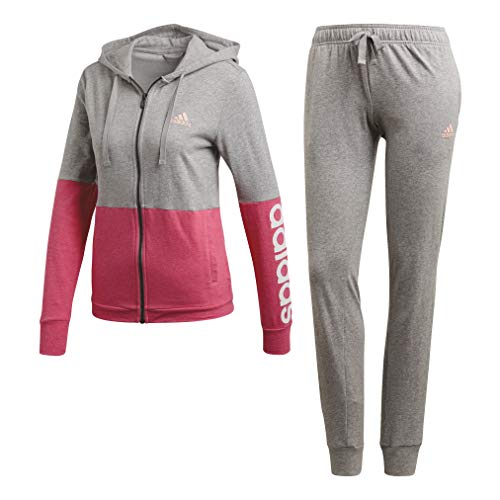 adidas Damen WTS Core Marker Trainingsanzug, Medium Grey Heather/Haze Coral Mel/White, S